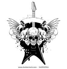 vector illustration grunge skulls guitar on stock vector 542852014