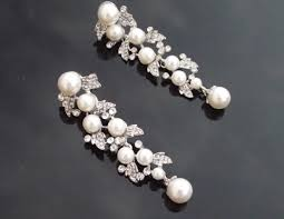 wedding earrings drop vintage style silver earrings pearl drop earrings hayworth