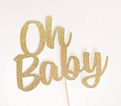 baby cake topper gold glitter oh baby cake topper script baby