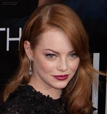 hair bangs tucked ear emma stone s long russet hair that matches her skin tone