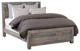 kosas home norman reclaimed pine queen bed distressed charcoal