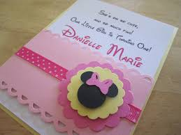 Handmade Invitation Card Minnie Mouse Baby Shower Decorations Pink Baby Minnie Mouse