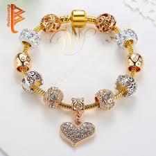 murano charm bracelet images Crystal heart charm bracelet for women with murano glass beads jpg