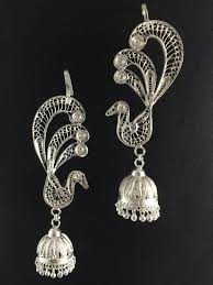 kaan earrings odissi costume jewellery silver peacock kaan earrings