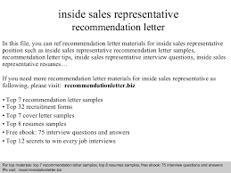 inside sales representative recommendation letter