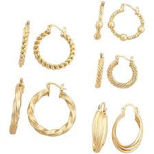 hoop earing gold tone fancy hoop earring set 5 pair walmart