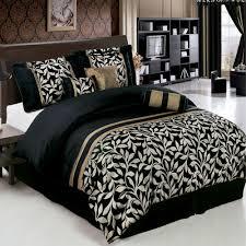 Modern Bed Comforter Sets Elegant 7pc Chandler Black And Gold Comforter Bedding Set