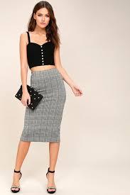pencil skirt chic houndstooth print skirt midi skirt pencil skirt