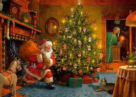 santa with christmas tree christmas lights decoration