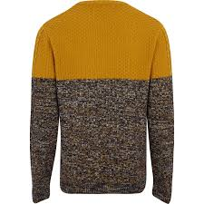 Yellow Mustard Color River Island Mustard Cable Knit Colour Block Jumper In Yellow Lyst