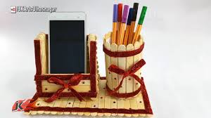 unique pen holders diy pen stand and mobile phone holder with icecream sticks how