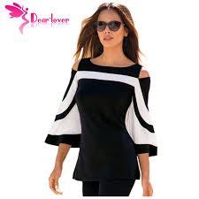 the shoulder black blouse dearlover blouse black white colorblock bell sleeve cold