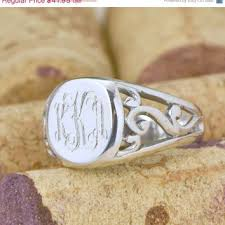 monogrammed silver ring best sterling silver monogram ring products on wanelo