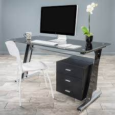 Black Metal And Glass Computer Desk by Black Glass Desk With Drawers Best Home Furniture Decoration