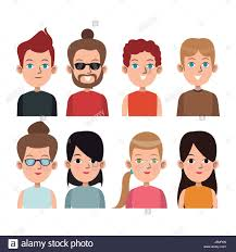 cartoon young people community portrait differents stock vector