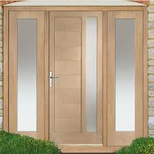 Exterior Door And Frame Sets Modena Exterior Oak Door And Frame Set With Two Side Screens And