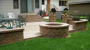 Backyard Patio Ideas Cheap by Fresh Concrete Patio Designs With Fire Pit Decorating Idea