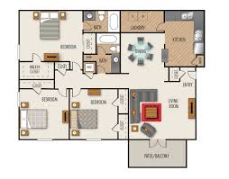 Floor Plans For Apartments 3 Bedroom by 3 Bedroom 2 Bath Apartments