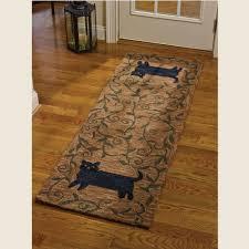 primitive cat hooked rug runner 24 x 72 piper classics