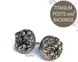 titanium stud earrings titanium earrings etsy