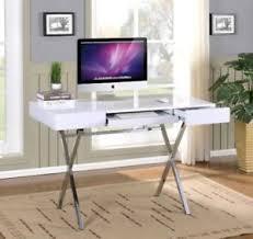 Chrome Office Desk Brand Furniture Contemporary Style Home Office Desk White
