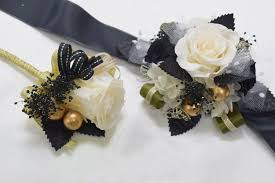 and black corsage boutonniere wrist corsage set bwc19 ivory gold black