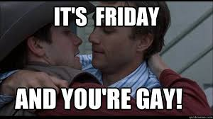 Gay Gay Gay Meme - funny its friday and you are gay meme graphics quotesbae
