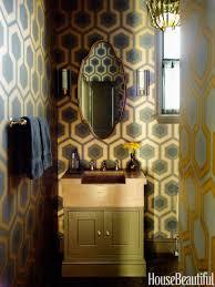 bathroom gold graphic bathroom bathroom mirror brown wood