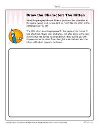 draw the kitten character descriptions worksheet