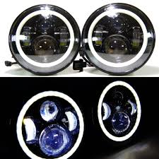 jeep black headlights 7 round led projector headlights chrome or black 2x 7led