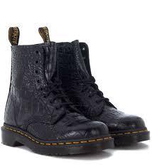 dr martens dr martens pascal black leather crocodile ankle