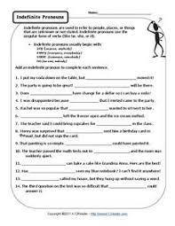 indefinite pronouns 2nd 8th grade worksheet lesson planet