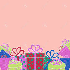 greeting template with colored birthday presents on a pink