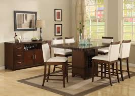 brown cherry finish classic pedestal counter height dining table