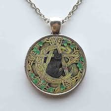 black cat pendant necklace images Black cat wicca pendant necklace pentagram jewellery jpg