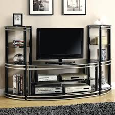 Unit Tv by Coaster Entertainment Units Demilune Black Silver Finish Tv Stand