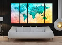 Large World Map Canvas by Worldwallartshop On Etsy