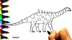 art video for kids drawing bellusaurus dinosaur with color markers