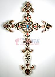 distressed beaded decorative wall hanging cross off white fleur de