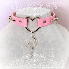 heart collar choker necklace images Bdsm daddys girl choker necklace pink faux leather heart spikes o jpg