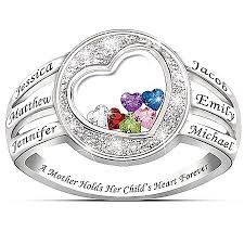 children s birthstone rings for mothers a holds child s heart personalized name engraved and