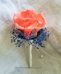 Coral Boutonniere This Listing Is A Navy Blue And Coral Boutonniere With Tan Babies