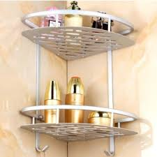 double layer triangular bathroom corner storage organizer with