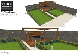luke barklamb contemporary pergola and decking garden design in