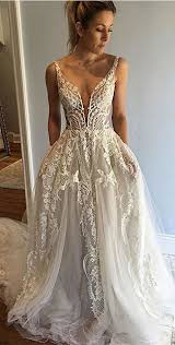 wedding dress with honorable v neck sleeveless court appliques wedding