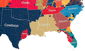 map us south nfl fan map favorite team by county business insider
