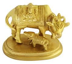 silver plated cow and calf kamdhenu cow idol for puja home
