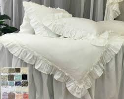 shabby chic linen ruffled duvet cover with mermaid long ruffle