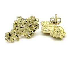 mens gold earrings yellow gold diamond cut small nugget earrings