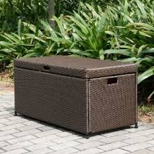 wicker outdoor storage boxes for pool patio and deck